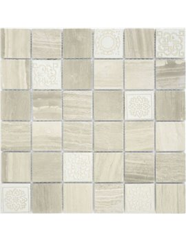 Мозаика Caramelle Art Travertino silver MAT 48x48x8 300x300x8