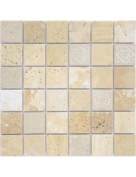 Мозаика Caramelle Art Travertino beige MAT 48x48x8 300x300x8
